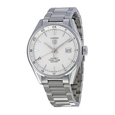 TAG Heuer Mens WAR2011BA0723 Carrera Automatic Stainless Steel Bracelet Watch >>> Visit the image link more details.
