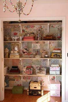 Don't forget to decorate so it's a happy inspiring space....Clever little craft closet~