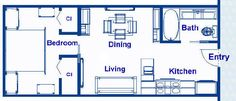 375 square foot ocean liner stateroom floor plans, vacation residence approximately 12.5' x 30' with an island bed, separate bath, kitchen, designer appliances and open living area, end entrance, closet and storage space.