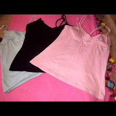 Spaghetti Strap Bundle Pink, blue, and black. Has the built in bra in all 3. I wore these under other tops. Tops Camisoles