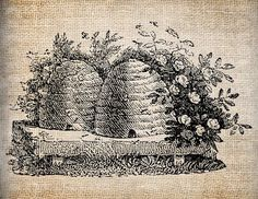 ≗ The Bee's Reverie ≗  Antique Bee Skep Bee Hive Digital Download for Tea Towels, Papercrafts ...