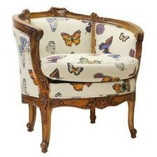 Butterfly tropical hawaiin fabric antique french louise tub arm chair  & cushion