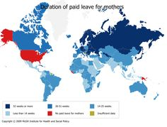 duration of paid maternity leave for new mothers. way to go america...