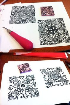 Multiple designs from one stamp-Printmaking PERFECT for a tesselatoin creation extension!