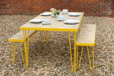HAIRPIN LEG, TABLE AND BENCHES YELLOW, VINTAGE,RETRO STYLE RECLAIMED WOODEN TOP