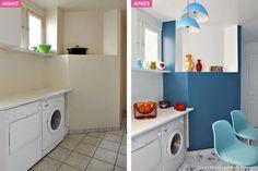 Coin lave-linge de la cuisine repeint en bleu et avec une nouvelle décoration des étagères.