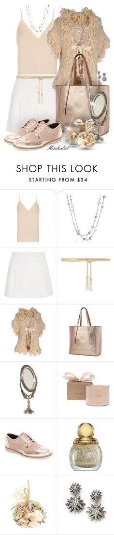 """Vintage Blush - Knitted Cardigan & Metallic Oxfords (179)"" by mischabel ❤ liked on Polyvore featuring Raey, David Yurman, Chloé, Valentino, Galliano, T-shirt & Jeans, Shabby Chic, Calypso Perfume Prod Inc., Ted Baker and vintage"