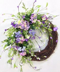 Spring Wreath Summer Wreath Pastel Wreath by CrookedTreeCreation Easter Wreaths, Christmas Wreaths, Purple Wreath, Wedding Wreaths, Summer Wreath, Spring Wreaths, Floral Arrangements, Creations, Door Wreaths