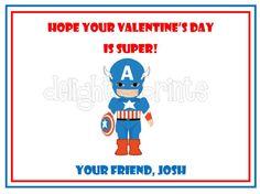 Kid's Valentine's Cards Captain America by delightfulprints