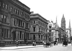 The double mansions of William H. Vanderbilt and family between 51st and 52nd Streets on the west side of Fifth Avenue, completed in 1881. On the next block is the limestone mansion of William K. and Alva Vanderbilt. The brownstones beyond were soon replaced with three more Vanderbilt houses. (New York Social Diary)