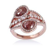 Bague haut de gamme en or rose 18 cts et diamant slice. Collection bijoux de luxe.
