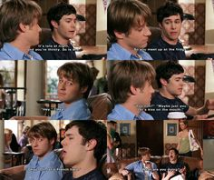 """THE OC - Seth: """"It's late at night and you're thirsty. So is she[Marissa]...So you meet up at the fridge."""" *Imitating Marissa:* """"Heyyy."""" *Imitating Ryan:* """"Hey."""" *Imitating Marissa:* """"Yoohoo?"""" *Imitating Ryan:* """"Maybe just you. Let's kiss on the mouth. *Makes kissy face* Okay. Oh, let's french hard. *Sticks out tongue & makes face*."""" Marissa: """"What are you doing?"""""""