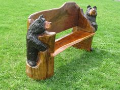 Chainsaw Carved Bench with Bear Ends Walnut by Bearcreekcarving, $1195.00