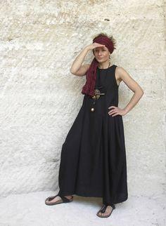 black linen dress AMALTHEE