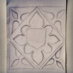 Sketch from Lacock Abbey of a detail above the main doorway. This stone work intrested me in its symmetry & simplicity.