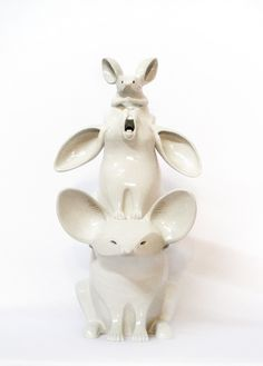 "Totem, symbols, art, ceramics, hand built, animals. Sculpture "" The better to hear you with"" by Aura Kajas 2015."