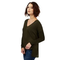 Nine by Savannah Miller Khaki green pointelle detail jumper | Debenhams