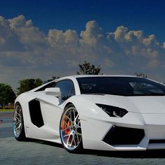Sports Cars -                                                              White Lamborghini Aventador