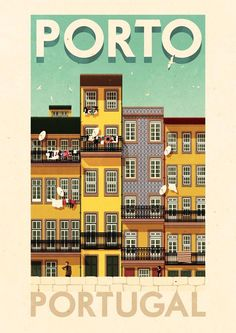 ✈ Porto Portugal Poster by Rui Ricardo, illustrator. We love the vintage-feel of all of his travel posters. Tourism Poster, Poster S, Poster Prints, Art Prints, Travel Illustration, Illustration Artists, Pub Vintage, Portugal Travel, Porto Portugal