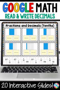 """""""LOVE THE VARIETY OF SLIDES!"""" With this Grade Reading and Writing Decimals digital resource, your students will practice using decimal notation for fractions with denominators 10 or 100 and reading and writing decimals to hundredths in standar Grade 5 Math Worksheets, Math Resources, 4th Grade Activities, Decimals Worksheets, Fraction Activities, 4th Grade Fractions, 8th Grade Math, Decimal Multiplication, Equivalent Fractions"""