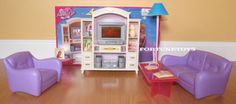 My Fancy Life DOLLHOUSE LIVING ROOM With ENTERTAINMENT TV HI-FI PLAYSET FOR BARBIE