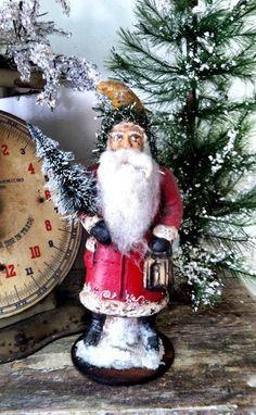 Papier Mache Vintage Santa