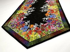 "Quilted Table Runner, 58"" X 20"", Spring Decor, Pink Yellow Black, Table Mat, Quilt For Sale, Wildflowers Butterflies Dragonflies, Rainbow Quilting Thread, Quilts For Sale, Black Table, Tablerunners, Bff Gifts, Quilted Table Runners, Mug Rugs, Table Toppers, Dragonflies"