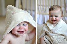Sweet H and M in Burts Bees Organic bathrobes via Flourishing