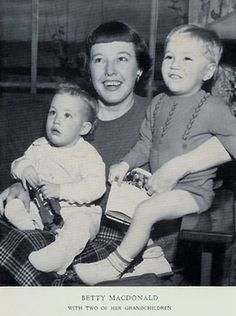 photo of Betty MacDonald and two children in 1950