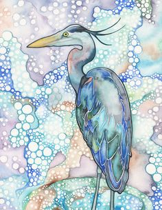 Great Blue Heron 8.5 x 11 print of beautiful bird turquoise teal cobalt sky soft pastel feathers watercolor wall art home decor baby nursery