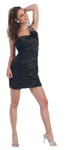 Single Shoulder Black Short Cocktail Dress Satin Rhinestone
