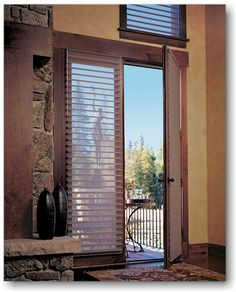 Classic Blinds & Shutters Design Center provides a large selection of french door blinds, shades and shutters, as well as patio door window treatments. Serving Alpharetta, GA and surrounding areas. Diy Blinds, Fabric Blinds, Shades Blinds, Curtains With Blinds, Privacy Blinds, Window Blinds, Bedroom Curtains, Door Curtains, Kitchen Blinds Contemporary