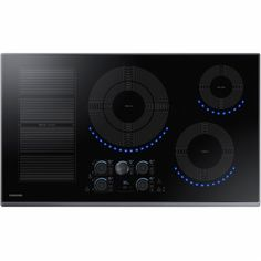 "Samsung - 36"" Induction Cooktop - Black Stainless Steel - Front Zoom"