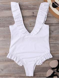 Plunging Neck Ruffle Strap Bride Swimsuit - WHITE L