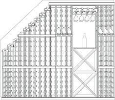 3D Wine Cellar DeProject Name: Green Cellar Bottle Count: 298 bottles This design used our waterfall rack to maximize the use of space underneath a stairway. Features a mixture of wine storage cubes, display row racking and a stemware rack over a small tasting station.sign