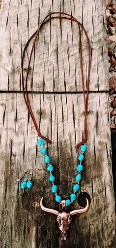 COWGIRL Bling Copper LONGHORN Western Faux Turquoise Boho Gypsy NECKLACE set #Unbranded