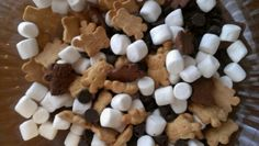 Cub Scout Smores snack mix: Honey and chocolate Teddy grahams, chocolate chips, mini marshmallows ...