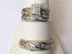 Men Womens Lab Diamond Rings Set Wedding Bridal Band Yellow Gold Over Trio #aonejewels