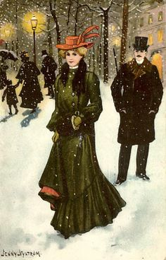 Vintage Christmas Postcard ~  Victorian Strollers in Snowy Village ~ Lady With Orange Hat