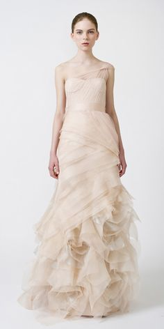 Loving non-white wedding dresses with just a hint of color... 'Farrah' by Vera Wang