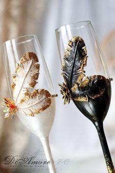 Gatsby Style wedding Champagne Flutes/ Gold Wedding от DiAmoreDS