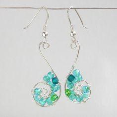 Sterling Silver Wire Wrapped Turquoise Dangle Earrings Beaded Blue Green Fine Seed Bead Jewelry Handmade Swirls Lightweight
