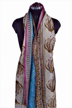Silk Vintage Kantha stoles/Scrafs/hand made shawls /Reversible kantha stoles /kantha scarves/Stoles Kantha by ethniclovers1 on Etsy