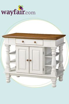 Add an elegant touch to your home with this antiqued white kitchen cart. Get up to 70% off at Wayfair!