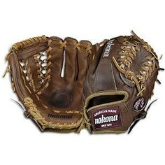 """Nokona Walnut WB1150M Fielder's Glove - Men's ( 11.5"""" Worn on Left Hand ) by Nokona. $209.99. Nokona has built its reputation on its legendary Walnut Leather. These gloves are now made with proprietary Walnut HHH Leather, which provides greater stiffness and stability. Once this glove is worked in, it is soft and supple while remaining sturdy. The Nokona Walnut is a true Nokona classic. 11.5"""" glove pattern, with a Modified Trap and open back."""