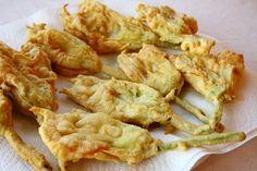 Frittelle di Fiori di Zucchine (Zucchini Blossoms Stuffed with Mozzarella) These are so good!