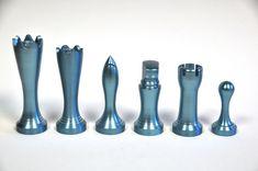 Modern metal chess set made on a lathe