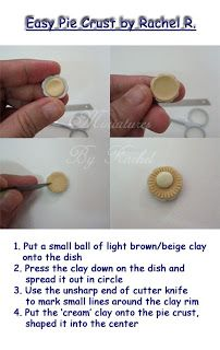 Miniature polymer clay pie crust for the dollhouse - super easy!   Source: Miniatures by Rachel