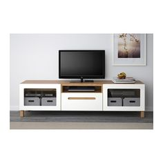 BESTÅ TV bench - oak effect/Marviken white clear glass, drawer runner, soft-closing - IKEA