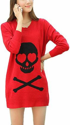 $43.90 awesome Vangood Women's Skull Of A Long Sweater